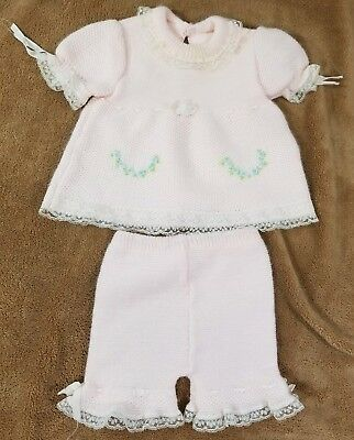 Vintage Baby Girl 2 Pc Knit Sweater Pant Set Italy Made Renko's Imports
