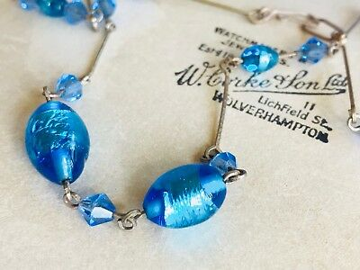 Beautiful Vintage Art Deco Blue Foil Glass Wired Necklace Length 40cm End To End