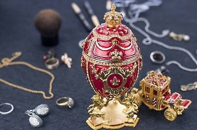 """Royal Imperial Faberge Egg: Extra Large 6.6"""" with Faberge carriage"""