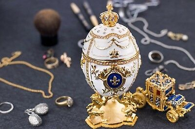 "Royal Imperial Faberge Egg: Extra Large 6.6"" with Faberge carriage"