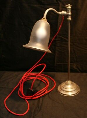 A Lovely Edwardrdian ? French Adjustable Desk/Table Lamp With Glass Bell Shade