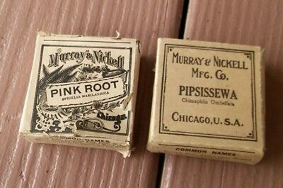 2 Boxes Vintage Antique Murray & Nickell Herb Apothecary Pharmacy Medicine Full