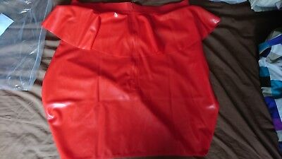 NEW Rubber Latex skirt cosplay uniform roleplay student pupil office. not pvc UK