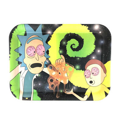 """Rick & Morty BAMBOO FIBER Tobacco Herb Rolling Tray 13""""x10"""""""