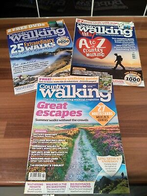 SELECTION COUNTRY WALKING MAGAZINES x3:  Aug 2018, Sept 2018, Oct 2018