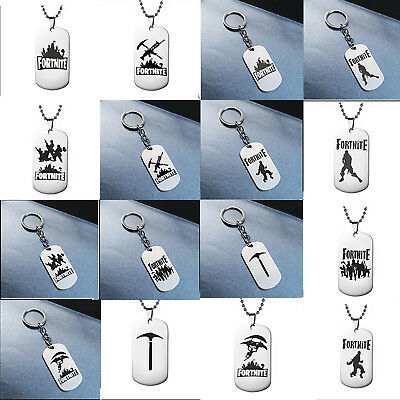 Fortnite PUBG Hot Trendy Key Rings Chain and Necklaces Pendants Stainless Steel