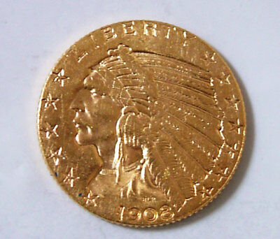 1908 UNC $5 Gold Indian Head Half Eagle United States Gold Coin