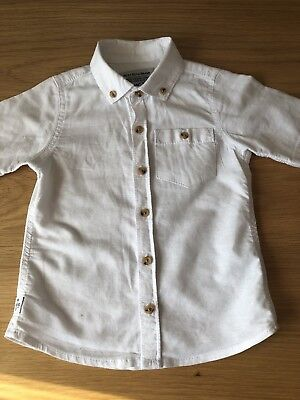 Baby Boys White Linen Cotton Blend Next Short Sleeved Shirt Age 1.5 - 2 Years