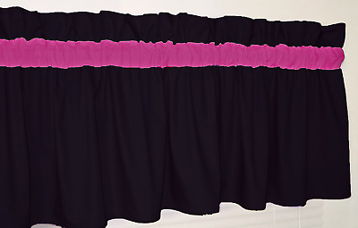 Black and Bright Pink Curtain Valance Window Topper Bedroom Bath Hot LOL bedding
