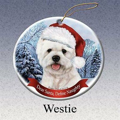 Westie West Highland Terrier White Dog Santa Hat Christmas Ornament Porcelain