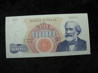 "1 old world foreign currency banknote ITALY 1000 lire 1962 P96 ""Verdi"""