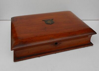 Antique Book Shaped Wooden Stationery / Work Box  for light restoration