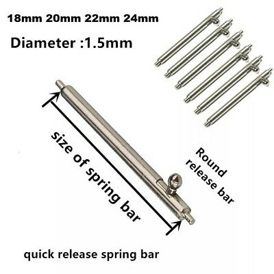 2x Stainless Steel Watch Spring Bars, Pins, Lugs, Quick Release 18/20/22/24mm