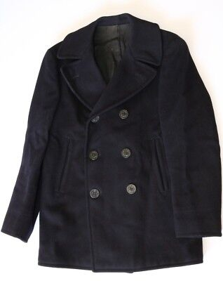 Vintage WW2 1940s USN US Navy Blue Button Peacoat w/STENCILED NAME VERY NICE 44
