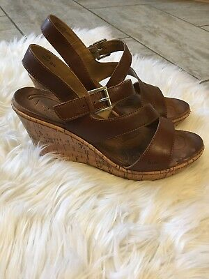 5f45c5bead19 BOC Born Concept Brown Leather Strappy Wedge Sandals Size Womens US 10