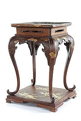 Japanese Lacquer Wood Stand Side Table Meiji Period