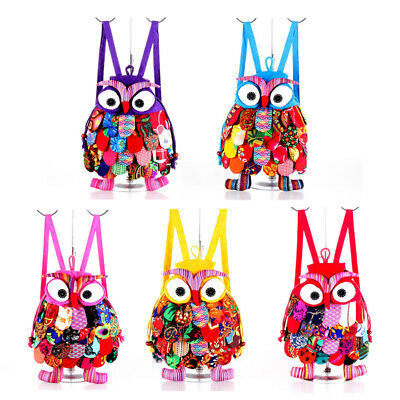 Owl Backpack Kid Children Colorful Owl Ethnic Backpack Schoolbag Shoulder Bag US