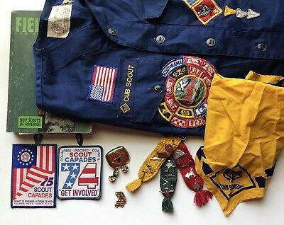 Vtg Lot Boy Cub Scouts Patches Webelos Pins Shirt 1967 Fieldbook