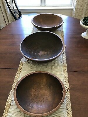 Vintage Set Of 3 Antique Wooden Walnut Dough Kitchen Bowls - Gorgeous