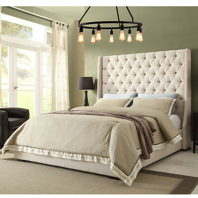 Winged bed frame - wing back many options many colours fabrics - scroll - sleigh