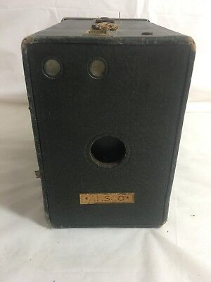 Antique Ansco Craftsman Box Camera green Brass Trim PARTS ONLY Steampunk