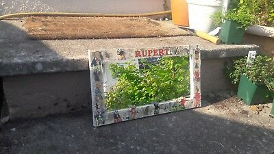 Vintage Rupert The Bear Decoupage Mirror, 20Cm X 36Cm, Hand Made Frame Edge.