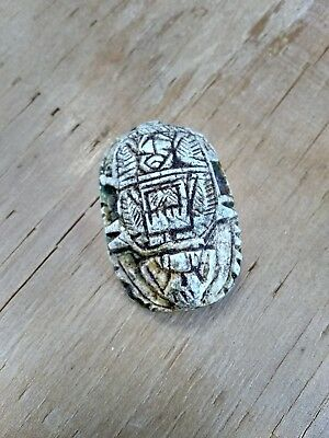Ancient Egyptian Carved Scarab Faience Bead w/ Hieroglyphics
