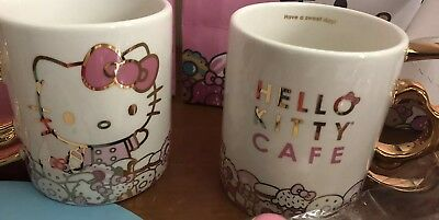 NIB LE 2018 Hello Kitty Grand Cafe Exclusive Metallic Gold Bow Handle mug Cup