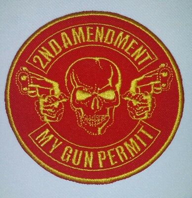 2Nd Amendment My Gun Permit Motorcycle Biker Embroidered Vest Patch Yellow/red