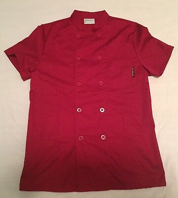 EUC Checked Out Vented Chef Cook Shirt Coat Uniform Size XL Red Preowned