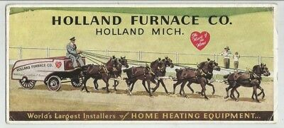 vintage INK BLOTTER  HOLLAND FURNACE CO  HOLLAND MICHIGAN horse drawn wagon