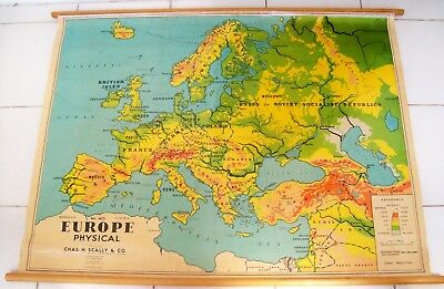 Rare Vintage Map Of Europe By Chas H Scally & Co 1969 In Vgc