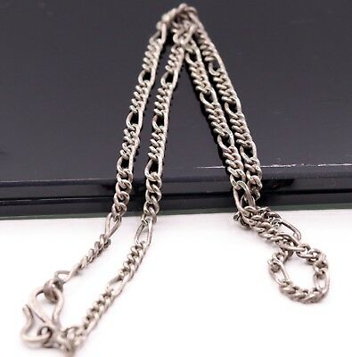 Vintage Antique Old Silver Figaro Chain Awesome Stylish 3.5 Mm Unisex Chain 19""