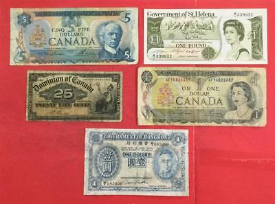 Old World Paper Money Currency Collection of 5 Assorted Notes!