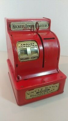 Vintage RED Uncle Sam's 3 Coin Register Bank CUTE! ❤