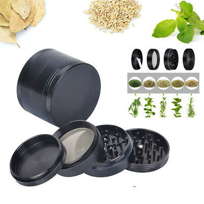 Magnetic 2 Inch Black Tobacco Herb Grinder Spice Aluminum With Scoop 4 Piece
