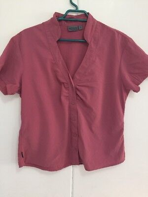 Women's Kathmandu Rose Pink Red Hiking Button Shirt Size 14