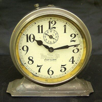 Vintage National Call Wind Up Eight Day Chrome Alarm Clock Parts/Restore Made US