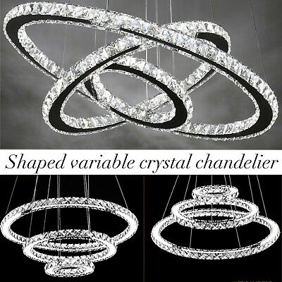 Modern 3-Ring Circle Ceiling Chandelier LED Crystal Pendant Light White HOME MY