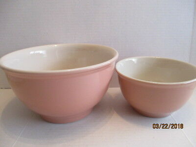 2 Tag Heavy Pink White Stoneware Mixing Bowls Large and Small