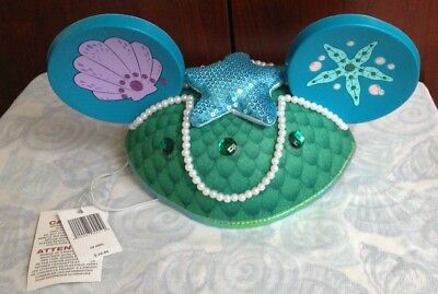 new with tags disney parks the little mermaid princess ariel  mickey ear hat