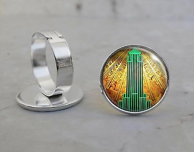 Silver Plated Adjustable Ring Empire State Building Art Deco Style