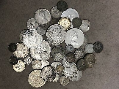 Foreign Silver Coin Lot Pile Many Different Countries