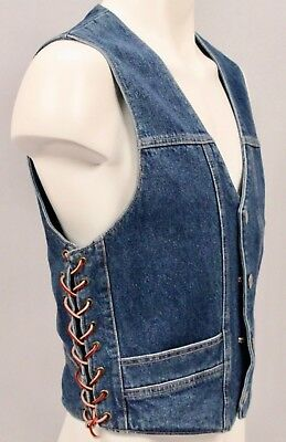 VTG 1970s SIERRA HWY Denim Jean VEST w BUFFALO Nickel Snap Buttons Size S - USA