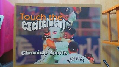Biggio/Bagwell Astros Touch the Excitement Banner Card Houston Chronicle 12x17