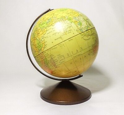 'THE REVERE' by REPOGLE VINTAGE 6'' TIN LITHO WORLD GLOBE, W/COPPER HANGER/BASE