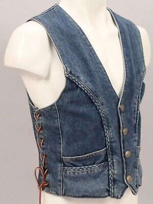 1970s SIERRA HWY Denim Jean VEST w BUFFALO Nickel Buttons & BRAIDED Piping - S