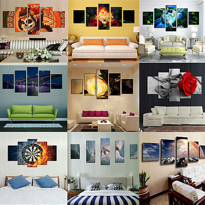 5Pcs Modern Abstract Large Wall Home Decor Art Oil Painting On Canvas Unframed