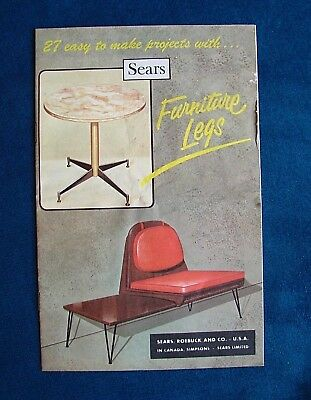 Vtg 1966 27 Easy to Make Projects with Furniture Legs -Mid Century Modern Sears