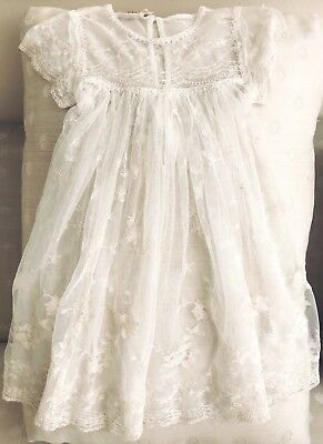 Cornelloki Baby Girl Ivory Lace Christening, Baptism, Party Heirloom Gown Sz 2